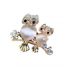CAROMAY Elegant Owl Brooch Owl-Shaped Crystal Breast Pin for Women Suits Pure-colored Coat Banquet Party Daily Decoration
