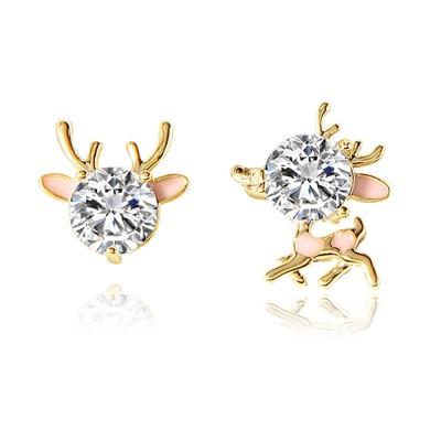 Cute Reindeer Earrings Studs for Women Asymmetrical Elk Stud Earrings Delicate 925 Silver Jewelry Earring Girls Gift