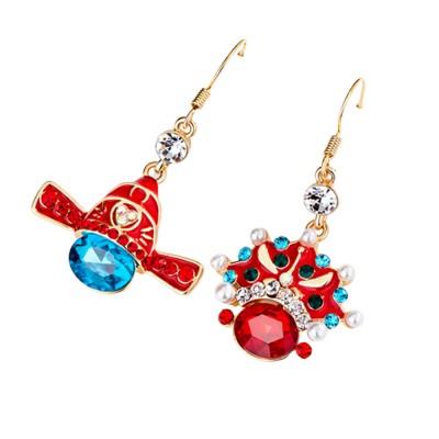 Chinese Style Dangle Earrings Asymmetric Personality Crystal Earrings Bride Groom Earrings Studs