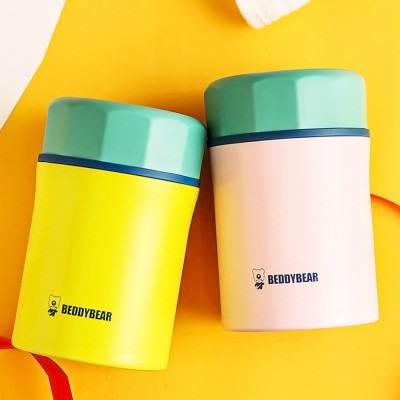Cute Carton Pattern Decoration Large Capacity Portable Smoldering Simmering Pot Thermal Lunch Box Vacuum Cup with Foldable Spoon