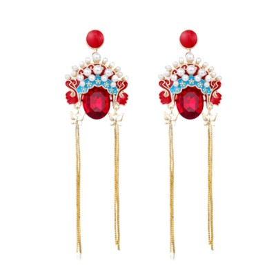 CAROMAY Chinese National Wind Earrings Vintage Long Tassel Earrings Dangle Earring Jewelry with Peking Opera Facial Makeup Element