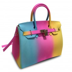 Colorful Contrast Women's Fashion Jelly Bag Rainbow Colored Matte PVC Beach Handbag Tote Bag