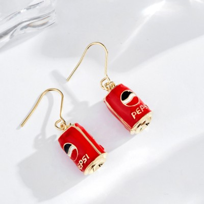 CAROMAY Cola Can Earrings 18K Colored Gold Can Ear Jewelry for Girls Creative Can Accessory for Party Daily Wearing Valentine's Day Present