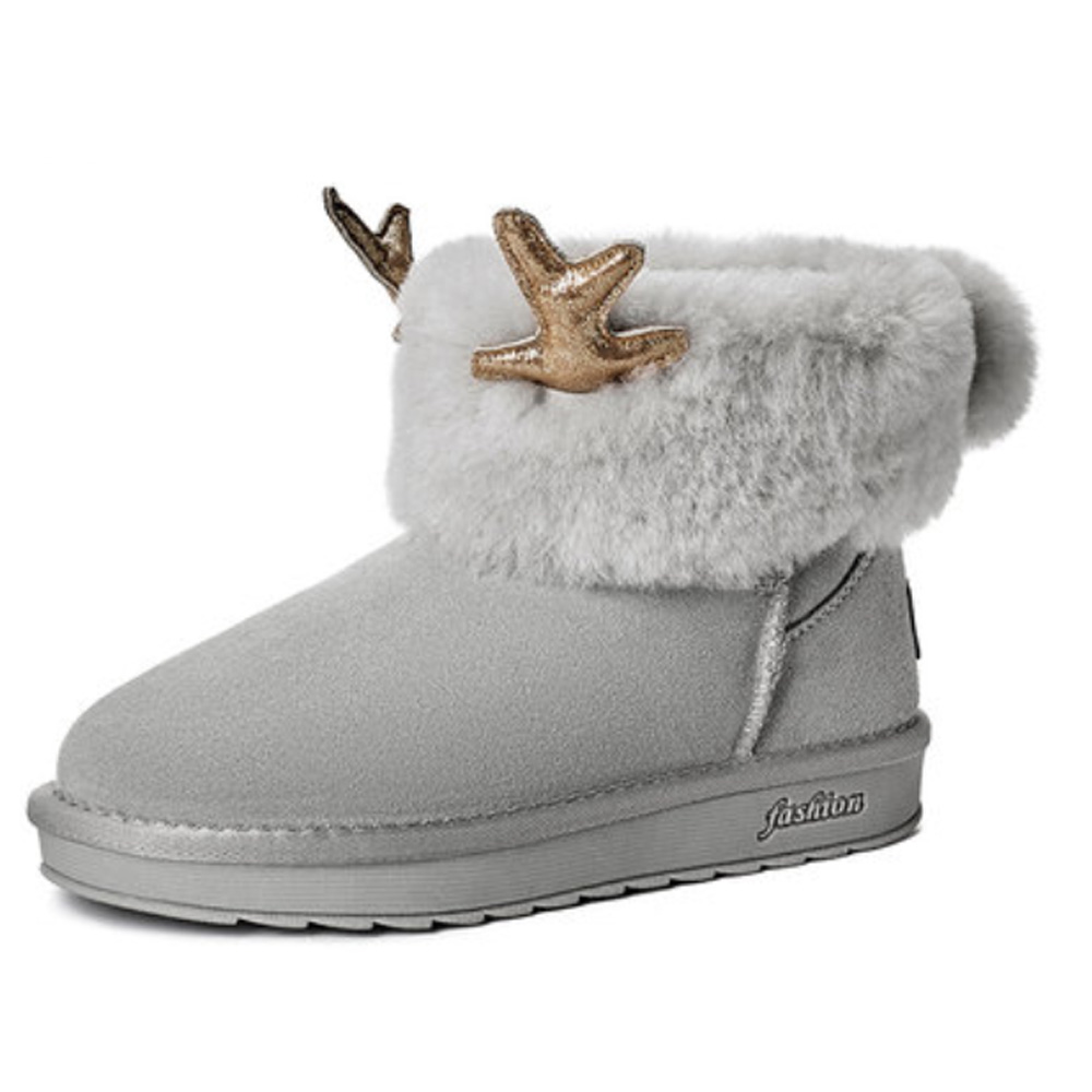 2019 Love Elk Antlers Boots Faux Fur Lining Suede Ankle Winter Warm Snow Boots For Women Ladies