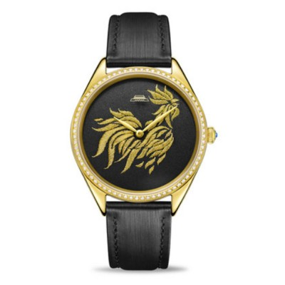 Top Brand Women Wrist Watch With Silk Gold Chicken Clear Stones Genuine Leather Strap Automatic Female Embroidery Watch