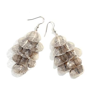 CAROMAY Stylish Elegant Vintage Delicate Hollow Leaf Model Tassels Silver Eardrops Earrings with Mirror Polishing Electroplating