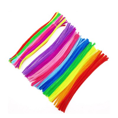 100pcs Per Set Twist Stick Velvet Pipe for Hand-made Use Ten-color Mixed Twisting Stick Light Color Series DIY Tool Mixed 10 Color