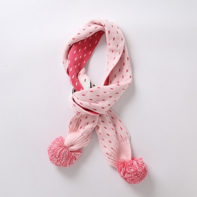 Ruhi New Style Long Scarf for Kids' Wear 100% Cotton Knitted Thermal Kid's Scarf Pink Cartoon Deer Pattern Scarf Winter Autumn