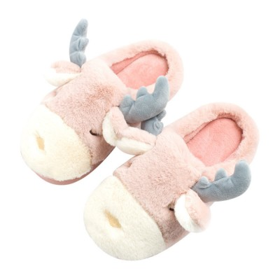2019 Latest Cute Cartoon Style Thick Sole Cotton Slippers Home Use Warm & Fluffy Household Slippers for Winter Men Women