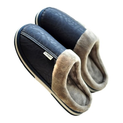 2020 Latest Men's PU Material Waterproof Skid-resistant Slippers Indoor Fluffy Warm Winter Home Use Thicken Slippers for Both Men & Women