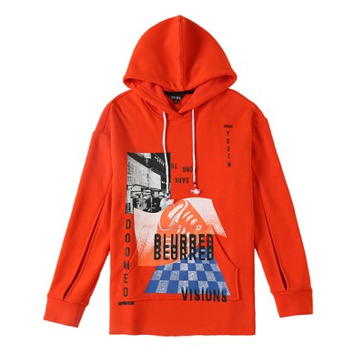 ZVBV 2020 Spring New Hooded Loose Fitting Pullover with Plush Sweater Women's Orange Medium Long Slouchy Top