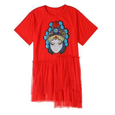 ZVBV Spring and Summer 2020 New Mesh Splicing Red Short Sleeve Casual Sequin Dress Women's Loose A-line Skirt