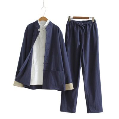 Li Ziqi's Chinese Style Clothes Retro Han Suit Chinese Ancient Style Cotton Hemp Three Piece Suit Reclusive Clothes Meditation Clothes