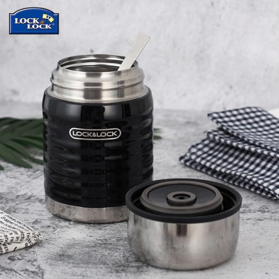 Lock& lock Stainless Steel Food Jar Insulated Leak proof Hot Food Container with Folding Spoon for School Office Picnic