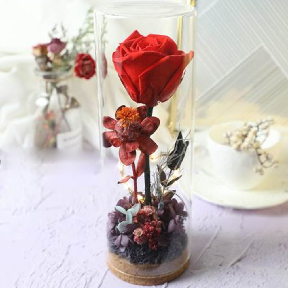 Glass Bottle Eternal Rose with LED Light Preserved Real Flower Romantic Gift for Lover Valentine