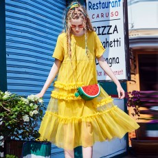 ZVBV 2020 Medium Long A-line Dress for Women Wear One-piece Loose Cotton Skirt Fashionable Casual One-piece Dress