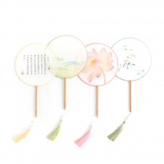 Palace City Tibetan Painting Series Silk Hand Fan Wood Handle Pure Silk Chinese Painting Fan Best Gift