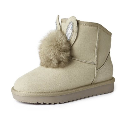 Warm Winter Autumn Cute Fluffy Rabbit Ears Model Decorative Anti-skid Girl Snow Boots with Fuzzy Ball Decoration