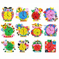 Cute Creative Clock DIY Easy Operation EVA Paster Clock Material Pack for Children Handmade Time Training