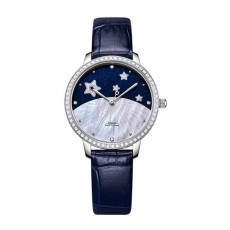 Waterproof Elegant Delicate Starry Sky Model Rhinestone Decorative Woman Quartz Watch with Leather Strap
