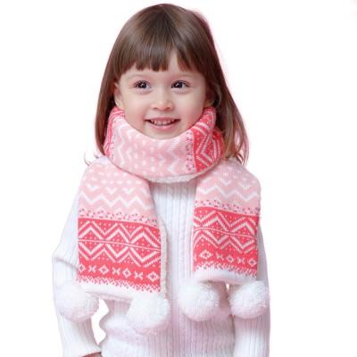 Warm Winter Autumn Cute Delicate Rhombus Pattern Children Girls Knitted Fluff Scarf Muffler with Fuzzy Balls Decoration