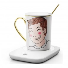 Electric Heating Ceramic Coffee Mug Warm Cup with Auto Temperature-lock Base Quick Heating Water Cup Best Gift