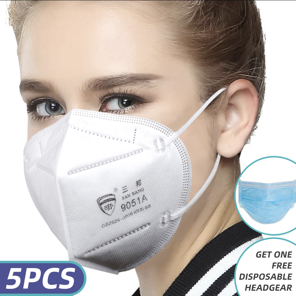 N95 / KN95 Safety Masker Debu Face Mask Virus Mesh Mask dengan Ear Loop 5 Packs