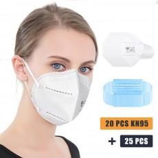 20Pcs KN95 Breathable Respirator Masks + 25Pcs Disposable Masks