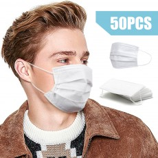 Wholesale Disposable Face Mask 3 Ply Blue/White Dust Masks with Elastic Ear Loop