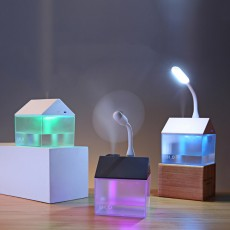 House Shape Air Purifier Humidifier Small Ultrasonic Humidifier With Mini Fan And USB Light For Home Office
