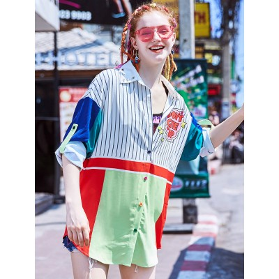 ZVBV 2020 Spring New Loose Korean Fashion Half Sleeve Sun Proof Shirt Fashionable Women's Wear Personalized Leisure Medium Long Shirt