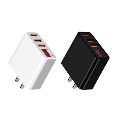 3.4A Fast Wall Charger with 3 USB Port Portable USB Power Adapter with Digital Display Suitable for Most Devices