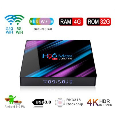 2020 New H96 MAX RK3318 Smart TV Box 4/32GB 3D 4K Android 9.0 Media Streamer 2.4G/5G Dual Band WiFi USB3.0