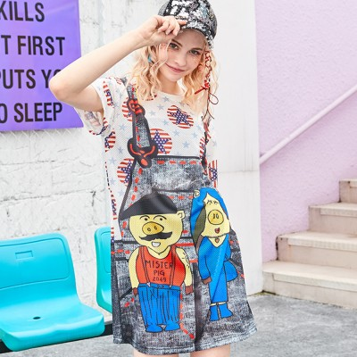 Women's Short-Sleeve Swing Dress Breathable T-Shirt Dress with Simple Round Neck and Printed Styling Pattern