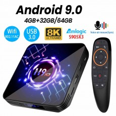 H9-X3 8K TV BOX Amlogic S905X3 Android 9.0 4+64GB BT4.0 Ultra-clear Set-to...