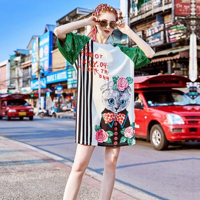 2020 Latest European Summer Cute Cats Pattern Leisure Style One-piece Dress in Vogue Sweet Cool Style Fashionable Dress