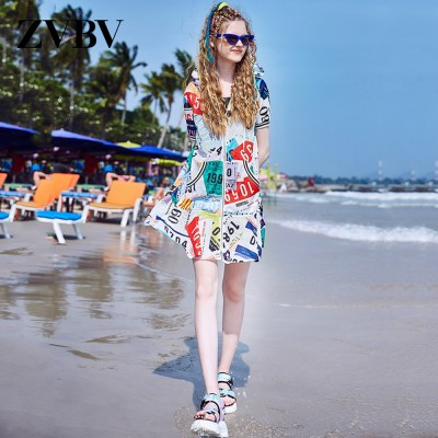 2020 Latest European Summer Leisure Style Zipper One-piece Dress Unique Printed Baggy Style Popular Breathable Dress For Girls