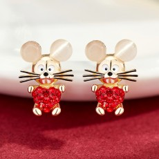 Delicate 925 Silver Earrings  Mouse Zodiac Year Birth Eardrop with Propitious implied Meaning Mouse Earrings Studs