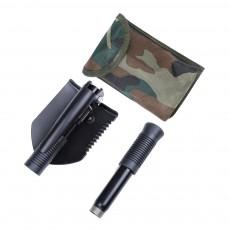 Multifunctional Tri-fold Shovel for Outdoors Camping Mini Carbon Steel Foldable Shovel Angle Adjustable Folding Shovel