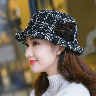 Fashionable Bucket Hat Knitted British Check Mummy Cap Korean Style Casual Bucket Hat for Women Lady