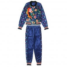 2021 Women's Velour Tracksuit Set with Long Sleeve Top Long Pants 2 Piece Sporty Velvet Suits with Printed Flowers
