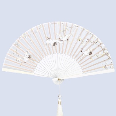 Chinese Style Folding Fan with Wild Crane Pattern Vintage Hand Held Craft Fan with Bamboo Frame for Women Gift