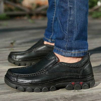 Men's First Layer Cow Leather Shoes Pure Leather Shoes Cuff Casual Shoelace Free Men's Shoes Suitable for Middle-aged and Elderly People