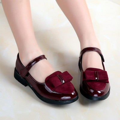 Flat Leather Shoes for Girl with Delicate Bow Princess Dress Shoes with Nonslip Rubber Sole 27-38 Inch