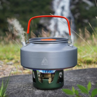Portable Light Outdoors Camping Boiling Water Aluminum Oxide Pot Kettle with Anti-Scald Handle Cover