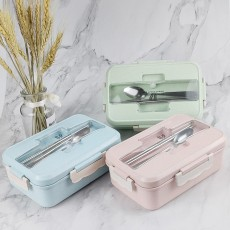 Creative Nordic Style Wheat Straw Bento Box for Students Portable Food Grade Wheat Straw Lunch Box