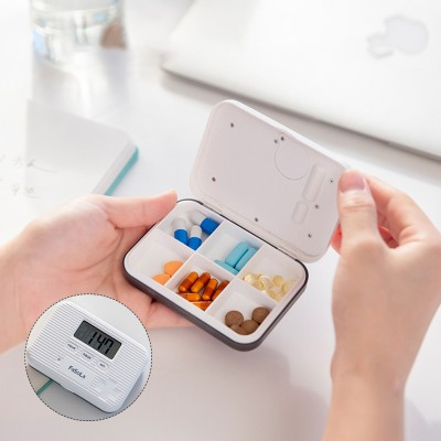 Japanese 4 Grids or 6 Grids Medicine Box for Travelling Portable Intelligent Alarming Pill Case Fine Sealing Sub-boxed Pills Reminder