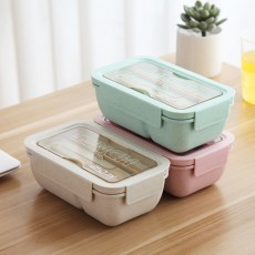 Environmentally Friendly Bento Lunch Box with Spoon and Chopsticks Leakproof Food Containers for Picnic Outdoors