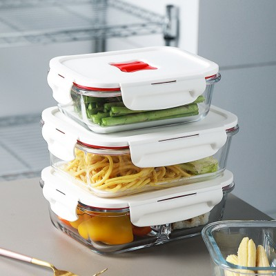 High Heat-resistant Glass Material Sealed Preservation Container Large Capacity Transparent Partitive Glass Meal Box