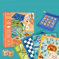 MiDeer Sixteen-in-one Puzzle Game Toy for Children Flying Chess, Five-in-a-row Multi-funcitional Intelligence Enhancing Board Game